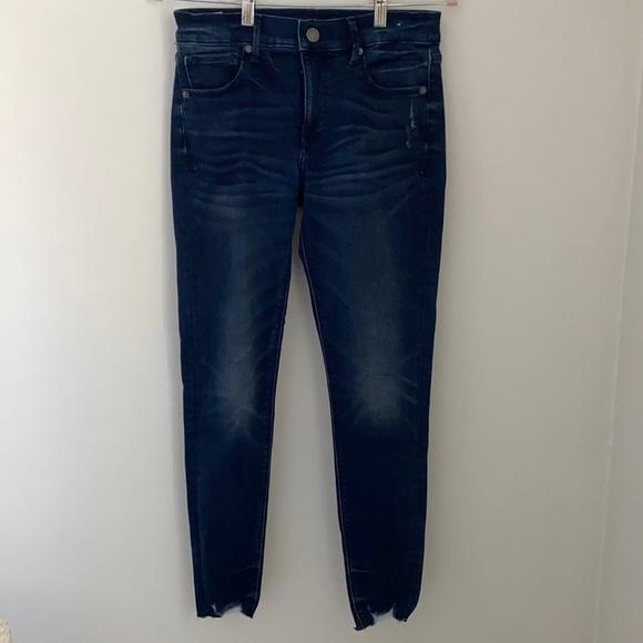EXPRESS stretch skinny ankle jeans, ripped hem